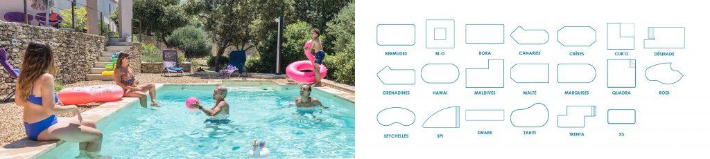 Pas moins d'une vingtaine de modèles de piscines dans voter agence Aquilus Orange, Tous nos modèles sont personnalisables
